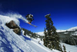 A skiier at Monarch Mountain resort blasts off a ledge in Mirkwood Basin, which features 12 new...