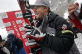 American skiier Daron Rahlves was all smiles as he watched teammate Christopher Beckman (not...