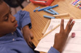 Crawford Elementary School student DaQuan Taylor (CQ), 9, of Aurora works on math class work in...