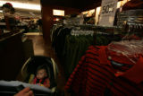 Kyla Rae Hill is missing the shopping frenzy as she is pushed around by grand mother Susan Dahl...