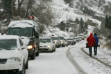 Cars line up on Linden Ave. in the foothills of N. Boulder after a multi-car accident below...