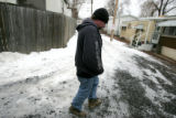 Shawn Eckley walks in the  City View Mobile Home Park Friday December 21, 2007 where he lives. ...