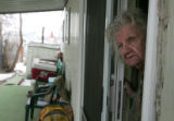 86 year old Helena Johnson looks out of her home she has lived in for more than 50 years at the...