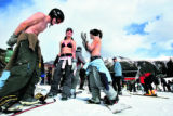 Snowboarders Joe LaPlante (cq), left, 23, of Leadville, Alyssa Healey (cq), 15, of Westminster,...
