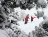 Dozens of locals came out to Ruby Hill Park in Denver to enjoy a day of snow, as the Denver Metro...