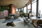 Betsy Turner's dog, Pippin, sits in the living room in her house, the Aspen House, in N. Boulder...