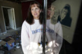 Wendy Cohen(cq) looks out the doorway of the  Crossroads Outreach Center, near Myrtle and College...