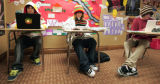 Snowboarders, LK-R,  Mike Fritz, Zach Keene, and Zeppelin Zeerip study in their British Literature...