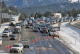 Westbound traffic on I-70 at Floyd Hill closed due to weather Monday December 31,2007. Frank...