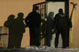 DM0854   Denver Police conduct a search warrant at an apartment across Lakewood Dry Gulch from...
