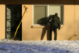 DM0865  Denver Police conduct a search warrant at an apartment across Lakewood Dry Gulch in Denver...