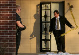 DM0875   Denver Police conduct a search warrant at an apartment across Lakewood Dry Gulch from...