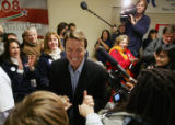 Democratic Presidential candidate John Edwards meets with volunteers and supporters at the United...