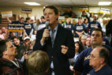 Democratic Presidential candidate John Edwards speaks to volunteers at the United Steelworkers...