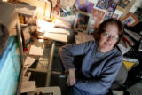 Kathie Reinhardt  works in her apartment Thursday January 3, 2008. She  spends most of her day in...