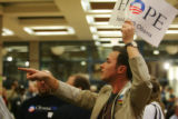 Chris Diebel counts Barack supporters at the State Historical Building in Des Moines, Iowa, on...