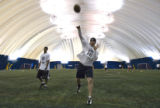 DM1312   Ryan Clement passes the ball during the tryouts for the Colorado Crush in Centennial,...
