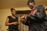 16 year-old Ronika Bryant (cq) and her boyfriend 18 year-old Deontay Davis (cq), have a few laughs...