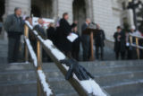 A lost glove rests on the railing on the west steps of the Capitol, during a GOP press conference,...