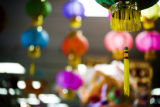 Lanterns for sale hang from the ceiling at the Truong An giftshop in the Far East Center, on Jan....
