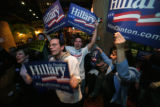 After AP called the race for Hillary, Anthony Delicio, 35,(cq) of Lkw., Brett Schwab,(cq) 25 of...