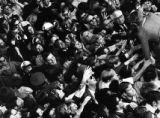 Eager young Americans reach for Sen. Kenndy's hand. Mar. 29 1968  Photo by Bill Peery, Rocky...