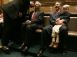 0306 Rep. Cory Gradner, R-Yuma, left, speaks with U.S Sen. Wayne Allard while Rep. Rob Witwer,...