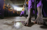 A child sits in class without shoes at Project Mercy in Yetebon, Ethiopia on, Thursday, September...