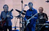 (NYT12) NEW YORK -- Oct. 25, 2005 -- CREAM-CONCERT -- From left, Jack Bruce, Eric Clapton and...