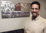 Skip Arnold (cq), Executive Director of Energy Outreach Colorado, in his workplace at 16th and...