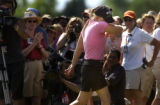 Morgan Pressel holds back tears as she misses her shot at a birdie cip shot moving her to 2nd...