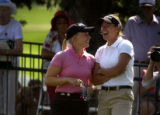 Morgan Pressel (left) and Brittany Lang (right) enjoy sharing 2nd place as amatuers as they tied...
