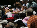 Amateur golfer Michelle Wie, of Honolulu, Hawaii, hits her tee shot on No. 5 during the final...