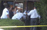 An unidentified bank employee is transported  after suffering an anxiety attack after a morning...