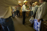 Sagache, Colo. 5/27/04-- At the Oasis Restaurant Attorney General Ken Salazar joins a small group...