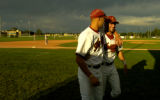 Foxes players Chris Widner(cq), left, from Wharton County Junior College, and Scott Hodson (cq),...