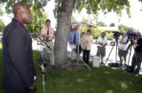 Aurora Police Public Information Officer Marcus Dudley during press conference in Wednesday June...