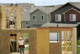 Carpenter   works on a new home in the near the Summit View subdivision in Severence , CO....