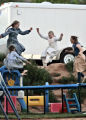Girls in the polygamist community of Colorado City, Ariz and Hildale, Utah, play on a trampoline...