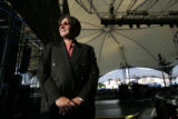At the Universal Lending Pavilion music promoter Chuck Morris poses on stage.  He is one of the...