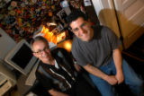 Mark Bliesener and Steve Knopper sit in Bliesener's basement studio in Denver on June 6, 2004. ...