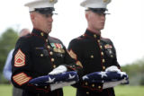 Gunnery Sergeant Tracy McBride, left, and Corporal Jacob Maynard, 22, brother of Lance Corporal...