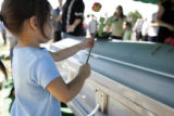 Funeral services for SSG Justin Vasquez, who was killed in Iraq on June 5, 2005. Lexi Lopez, 4,...