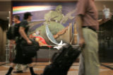 The Leo Tanguma mural in the terminal occasionally gets complaints that the military figure in it...