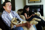 (BOULDER, Colo., June 7, 2005) Tyler Hamilton and his wife Haven Hamilton sit in there living room...