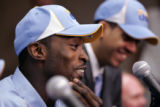 Nuggets draft pick (L-R) Julius Hodge and Ricky Sanchez, have a laugh with the media Thursday...