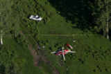 An Air Care (please check spelling) helicopter crashed in a clearing in the rugged La Plata...