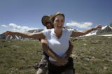 Don Combee, left, and Terri Noland, both of Nederland, enjoy the wind from the continental divide...