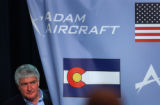 (ENGLEWOOD, Colo., June 18, 2004)Adam Aircraft counsel John Knudson (CK-not yet %100) enters a...