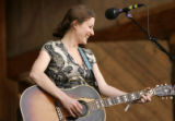 Kathleen Edwards laughs while playing at the 32nd Annual Telluride Bluegrass Festival in Telluride...
